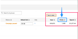 where to find Clicks analytics on amazon